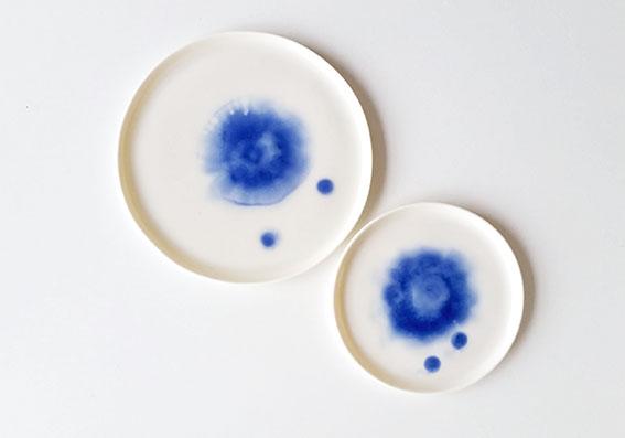 Porzellan Shop, Gutscheine, Porzellan handgemacht, Teller blau weiß, Aqurellbild, Meeresmotiv