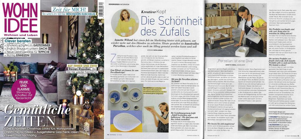 Artikel über fragileporzellan aus Düsseldorf in Zeitschrift Wohnidee